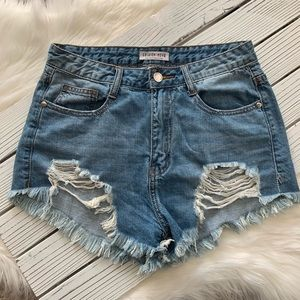 Fashion Nova High Rise Denim Distressed Shorts